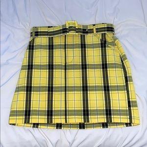 yellow plaid skirt